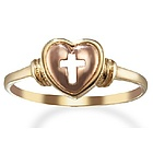 14k Yellow Gold Cross Ring with Rose Gold Heart