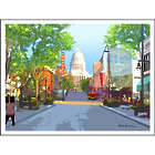State Street and Capitol Building in Madison, Wisconsin Print
