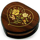 Wood Heart Shaped Floral Inlay Music Jewelry Box