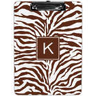 Personalized Chocolate Brown Zebra Print Clipboard