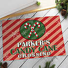 Candy Cane Crossing Personalized Doormat