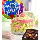 Happy Birthday Pastel Flower Cake with Balloon and Chocolates