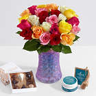 All-in-One Two Dozen Rainbow Mother's Day Roses Bouquet