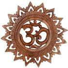 Om Bloom Hand Carved Suar Wood Relief Panel