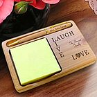 Personalized Live, Love, Laugh Wooden Notepad & Pen Holder