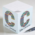 Crayon Letter Personalized Teacher Notepad Cube