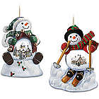 Holiday Scene Snowman Snowglobe Ornament Set