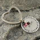 Hand Stamped Disc on Heart Shaped Keychain