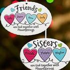 Personalized Sisters or Friends Heartstrings Ornament