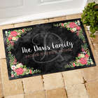 Personalized Floral Welcome Recycled Doormat