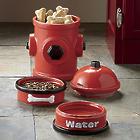 Fire Hydrant Jar and Dog Bowl Set