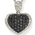 18k White Gold Black Diamond Heart Pendant