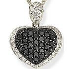 18k White Gold Black Diamond Heart Pendant