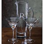 Personalized Crystal Martini Pitcher & Two Glass Set