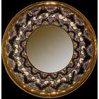 Handmade Plate Mirror w/Enamels and 24K Gold