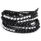 Chen Rai Silver and Black Leather Bracelet