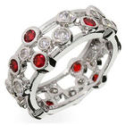 Ruby Cubic Zirconia Bubbles Sterling Silver Ring