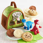 Dino Stuffed Animals in Carrier with Cookies