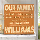 Personalized Our Family Rules Canvas Print in Orange