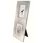 Personalized Silver Photo Frame with Clock