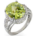 Sparkling Apple Green Cubic Zirconia Cocktail Ring