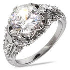 Brilliant Cut Cubic Zirconia Sterling Silver Engagement Ring