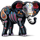 Celebration of Luck Sugar Skull Elephant Figurine
