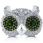 Sterling Silver Cubic Zirconia Owl Ring