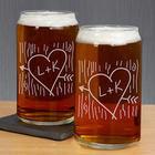 Personalized Carved Initial Beer Can Glass