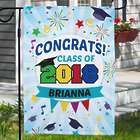 Personalized Congrats Fireworks Garden Flag