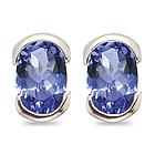 Tanzanite Stud Earrings in 14K White Gold