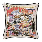 Hand Embroidered New York Accent Pillow