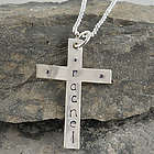 Sterling Silver Hand Stamped Cross Necklace
