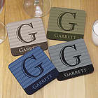 Personalized Initial Hardwood Drink Coasters