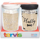 Wifey and Hubby Wraps with Lids 16-Ounce Tumblers Set