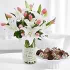 Mother's Day Oriental Lillies Bouquet with 12 Fancy Strawberries