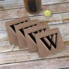 Monogram Engraved Leather Coasters