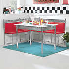 Retro Chrome and Red Dining Nook with Table