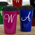 Personalized Initial 14-Ounce Ceramic Travel Mug