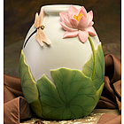 Dragonfly and Water Lily Table Vase