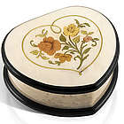 Ivory Stain Heart Shaped Floral Inlay Music Jewelry Box