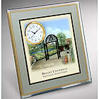 Reverse Glass Painted University Desk Clock