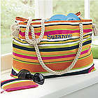 Personalized Striped Tote with Knotted Rope Handles