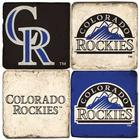 Colorado Rockies Italian Marble Coasters with Wrought Iron Holder
