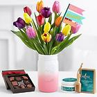 15 Multi-Colored Tulips with Chocolates and Spa Set for Mom