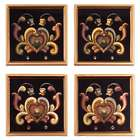 4 Floral Romance Glass Coasters in Black