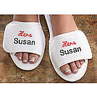Embroidered Hers Terry Spa Slippers