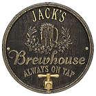 "Personalized Oak Barrel Brewhouse 11"" Aluminum Plaque"