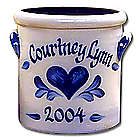 Personalized 1 Quart Crock with Heart Design
