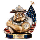USMC Devil Dog to Save and Protect Cold Cast Bronze Coin Bank